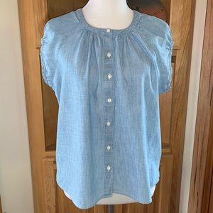 Levi's Peasant Blouse Cap Sleeves & Pearly Buttons